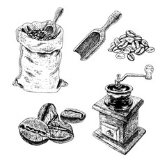 Hand drawn set of bag with coffee beans, manual coffee grinder, blade, bunch of coffee. Vector sketch