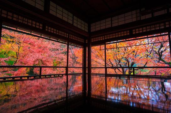Autumn landscape seen from Ryokan Hotel, Kyoto, Japan