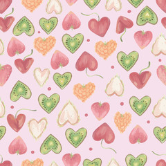 seamless vector pattern with berry from shape of heart on pink background