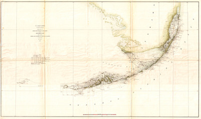 Fototapete - Old  Triangulation Map of the Florida Keys, 1859, U.S. Coast Survey