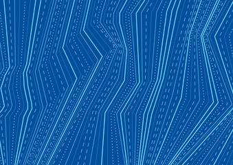 Abstract blue dotted lines refraction tech background