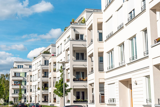 Newly built white apartment buildings seen in Berlin, Germany
