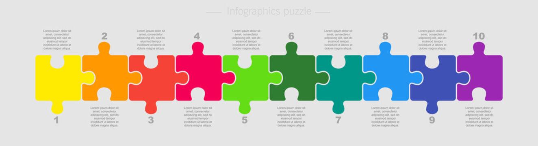 Puzzle Ten Pieces Parts for Business Presentation.