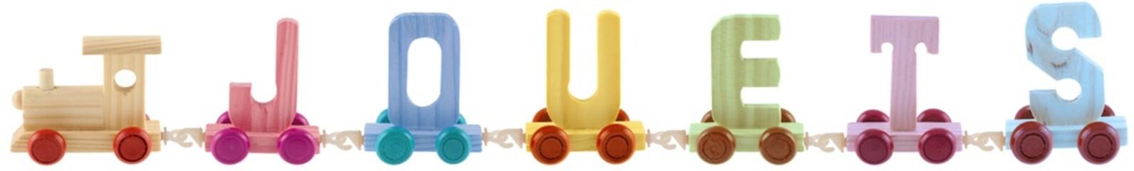 train jouets couleurs, fond blanc
