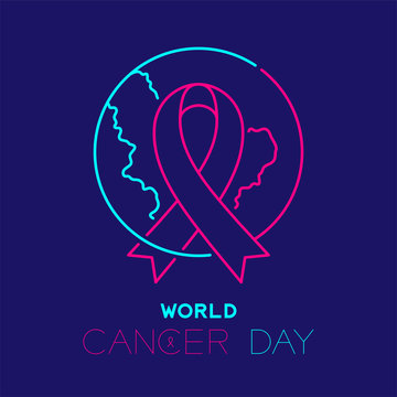 World cancer day logo icon outline stroke set dash line design, ribbon and globe illustration isolated on dark blue background with copy space