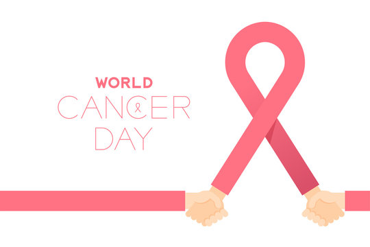 Pink ribbon breast cancer sign with Holding hands, World cancer day concept layout poster template design illustration isolated on white background with copy space