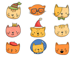 set of cartoon cats in funny clothes