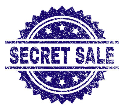 SECRET SALE stamp seal watermark with distress style. Blue vector rubber print of SECRET SALE caption with grunge texture.