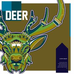 Wild deer / Emblem / Wood carving style vintage illustration - Vector