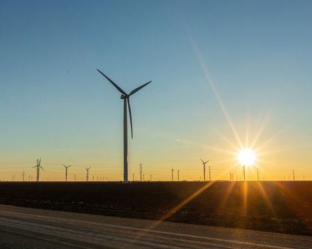 wind turbine generators near Taft, Texas.