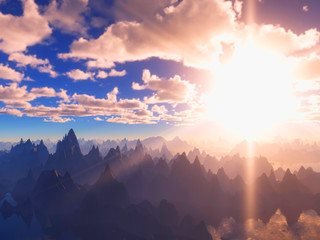 Glowing sun at mountain valley 3d rendering background