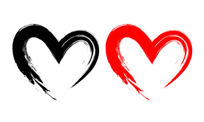 Black and red heart shape. Design for love symbols. Brush style. vector Illustration isolated on white background.