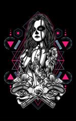 women with tattoo sacred geometry