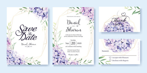 Fototapeta Wedding Invitation, save the date, thank you, RSVP card Design template. Vector. hydrangea flowers, olive leaves. Watercolor style.