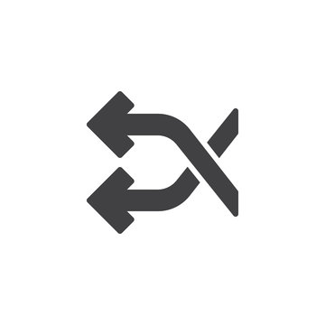 Shuffle crossing arrows vector icon. filled flat sign for mobile concept and web design. Aleatory arrows simple solid icon. Symbol, logo illustration. Pixel perfect vector graphics