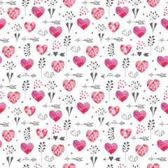 Watercolor Valentines seamless pattern