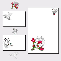 Floral templates with cute rosebuds and sweet pea silhouette.