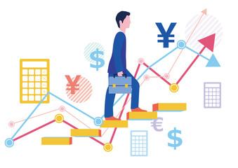 派遣社員と正社員の給料グラフとステップアップ-フラットデザインコンセプトイラスト