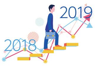 2018年から2019年のステップアップグラフとビジネスマン-フラットデザインコンセプトイラスト