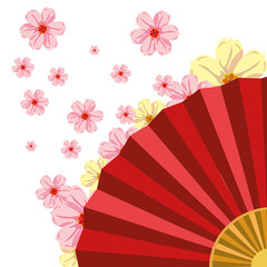 chinese fan with cherry blossoms