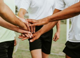 Football players team spirit concept