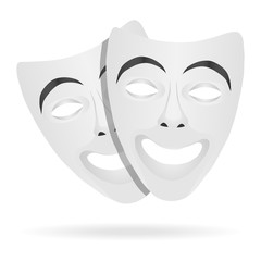 Template Blank White Mask Theaters. Realistic Empty Mock Up. White theatrical masks. Comedy theater Mask. Vector illustration.