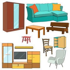 vector, isolated furniture collection