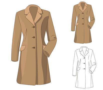 vector, isolated sketch of coat