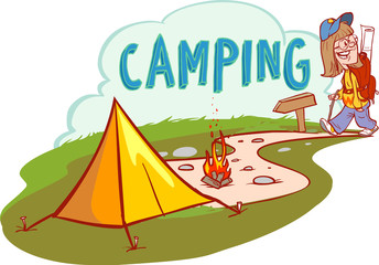 Summer camping vector cartoon illustration. Adventures, travel and ecotourism concept.