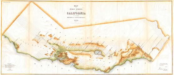 Fototapete - Old Map of California, Wall Map size 1854, Land Survey