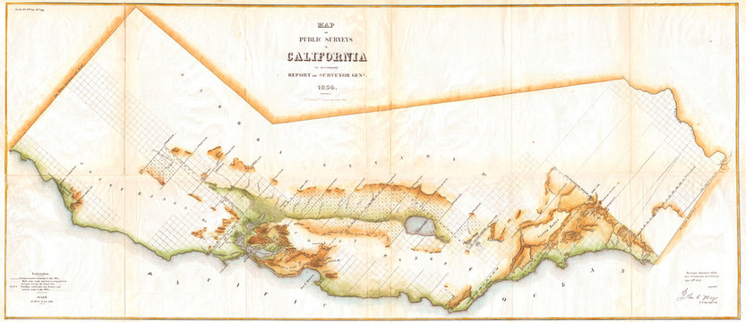 Old Map of California, Wall Map size 1854, Land Survey