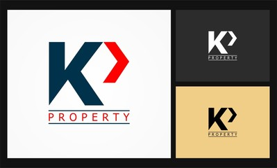 letter KP arrow icon business property logo