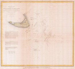 Fototapete - U.S.C.S. Map or Chart of Nantucket, Massachusetts 1852