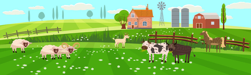 Rural spring landscape countryside with farm field with green grass, flowers, trees. Farmland with house, windmill and hay stacks. With farm animals cow, sheep, goat, bull. Outdoor village scenery