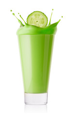 Splash from cucumber slices in green smoothie or yogurt