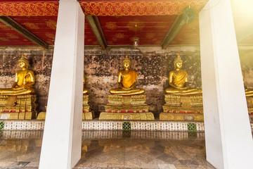 Golden Buddha Statue of Wat Suthat Devaravaram temple landmark of Bangkok, Thailand