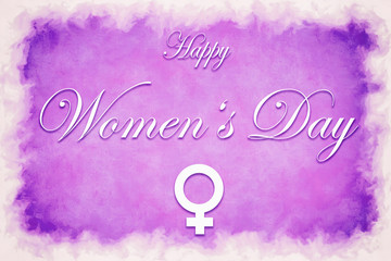 Illustration card with text Happy Women's Day