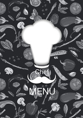 Cook's cap in vector. Hat on the background of the pattern of vegetables. Veggie Chefs Menu. Postcard and cover for cafe, restaurant.