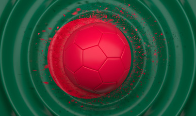 Bangladesh, soccer ball on a wavy background, complementing the composition in the form of a flag, 3d illustration