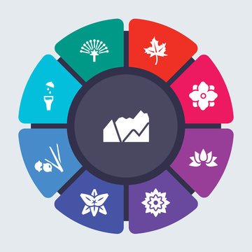 nature vector template for infographics. Business concept with 9 options, steps, parts, segments. Banner infographic cycling diagram, round chart, Mountains, Mimosa, Maple, Magnolia icons