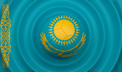 Kazakhstan, soccer ball on a wavy background, complementing the composition in the form of a flag, 3d illustration