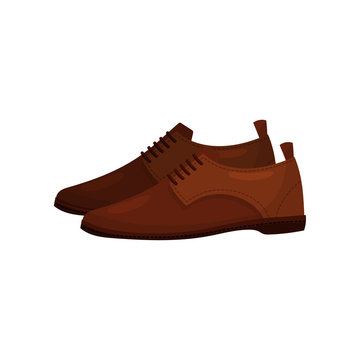 Classic brown leather shoes with laces. Trendy male footwear. Men fashion theme. Flat vector design