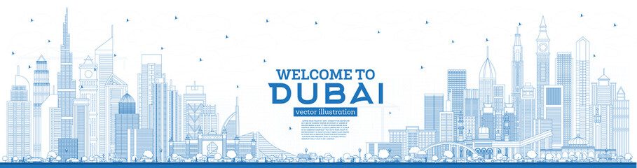Outline Welcome to Dubai UAE Skyline with Blue Buildings.