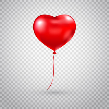 Heart balloon. Red heart glossy balloon isolated on transparent background. Festive decoration. Holiday backdrop with flying red balloon. Happy Valentines Day design element. Vector illustration