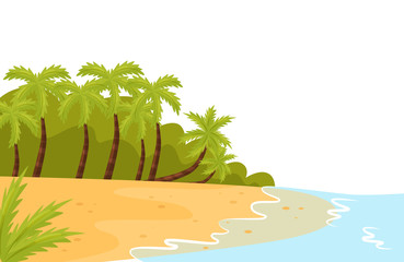 Tropical landscape with ocean shore, sandy beach and palm trees. Summer scenery. Flat vector for poster of travel agency
