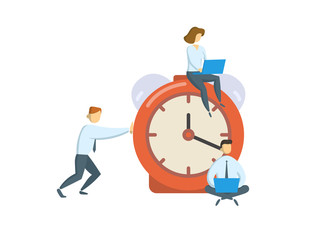 Managers around big alarm clock. Business, office time concept. Colored flat vector illustration. Isolated on white background.