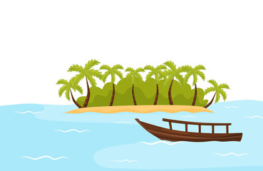 Tropical island with sand and palm trees and boat in blue ocean. Natural landscape. Summer scenery. Flat vector design