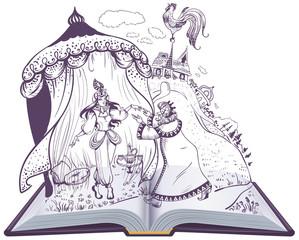 Pushkin fairy tale of Golden Cockerel open book illustration