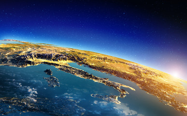 Wall Mural - Italy from space sunrise