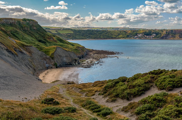North Sea Coast in North Yorkshire, England, UK - looking from Kettleness towards Runswick Bay